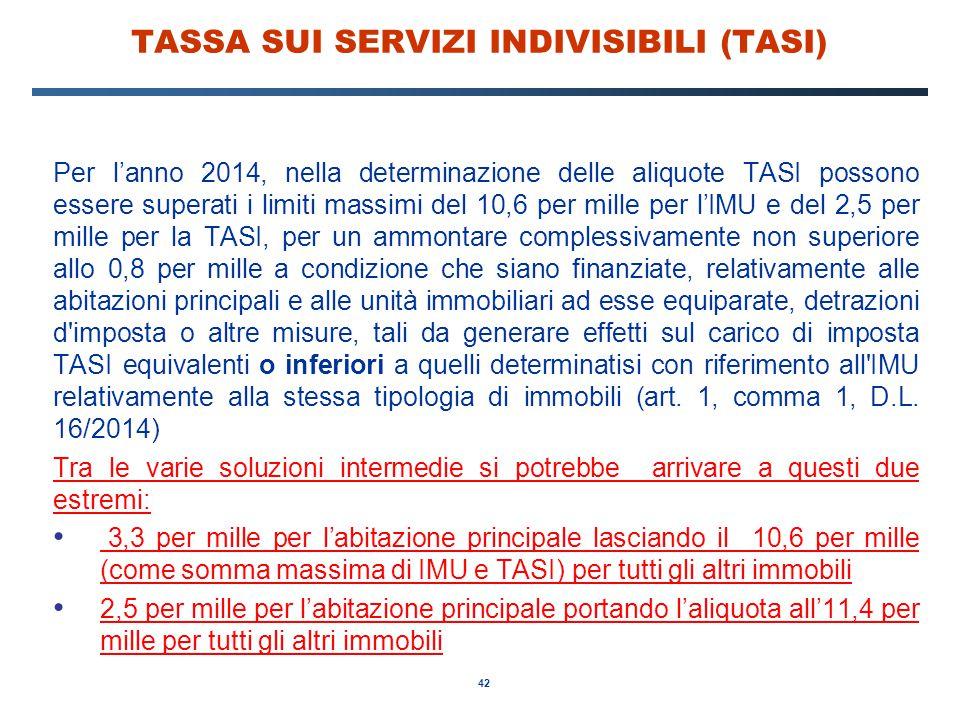 42 TASSA SUI SERVIZI INDIVISIBILI (TASI) Per l'anno 2014, nella determinazione delle aliquote TASI possono essere superati i limiti massimi del 10,6 p