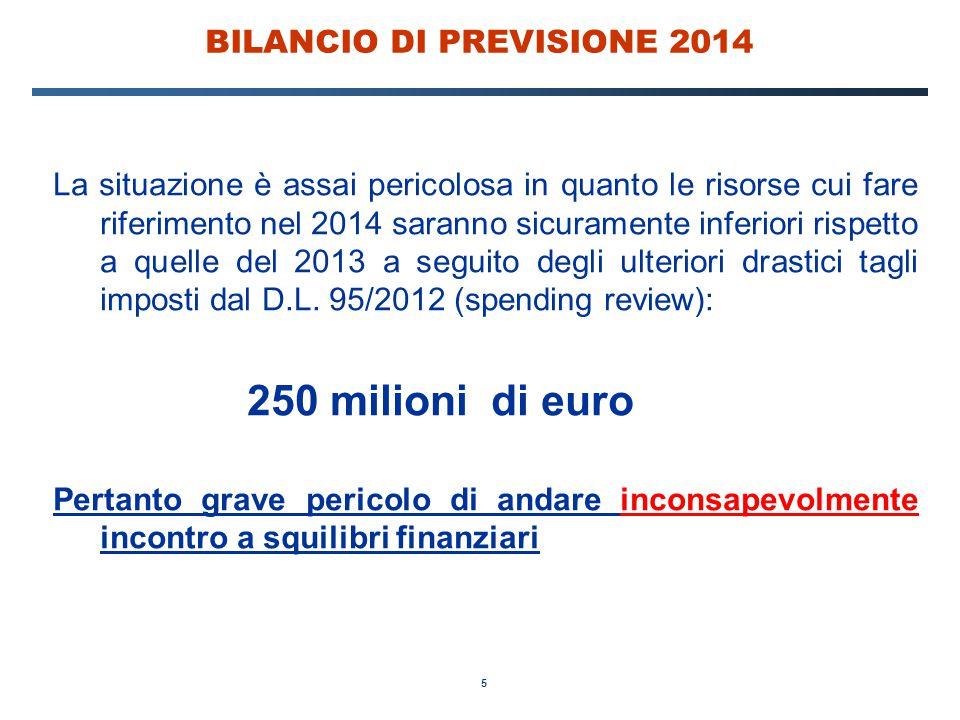 5 BILANCIO DI PREVISIONE 2014 La situazione è assai pericolosa in quanto le risorse cui fare riferimento nel 2014 saranno sicuramente inferiori rispet
