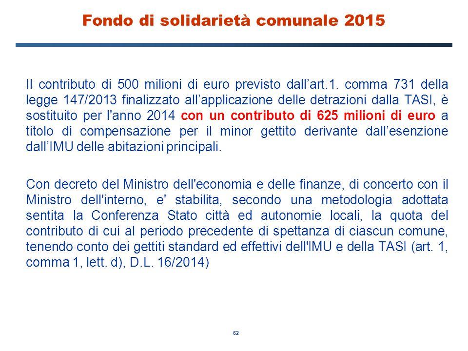 62 Fondo di solidarietà comunale 2015 Il contributo di 500 milioni di euro previsto dall'art.1. comma 731 della legge 147/2013 finalizzato all'applica