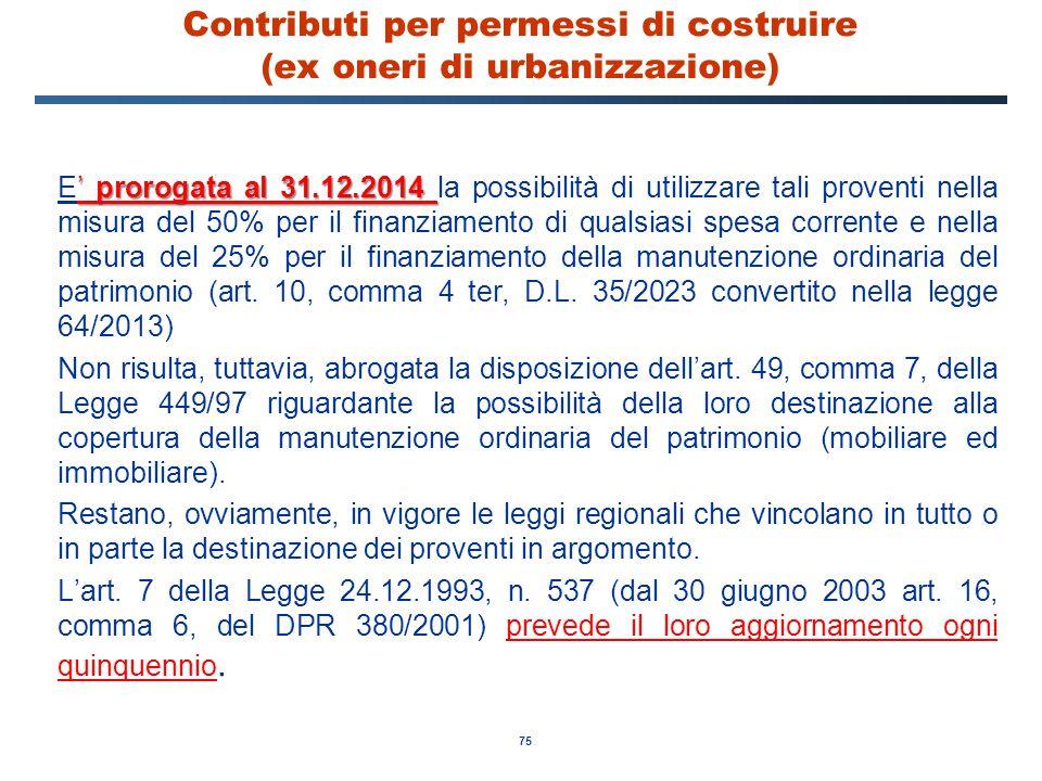 75 Contributi per permessi di costruire (ex oneri di urbanizzazione) ' prorogata al 31.12.2014 E' prorogata al 31.12.2014 la possibilità di utilizzare