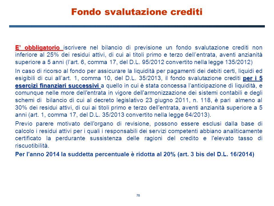 78 Fondo svalutazione crediti E' obbligatorio E' obbligatorio iscrivere nel bilancio di previsione un fondo svalutazione crediti non inferiore al 25%