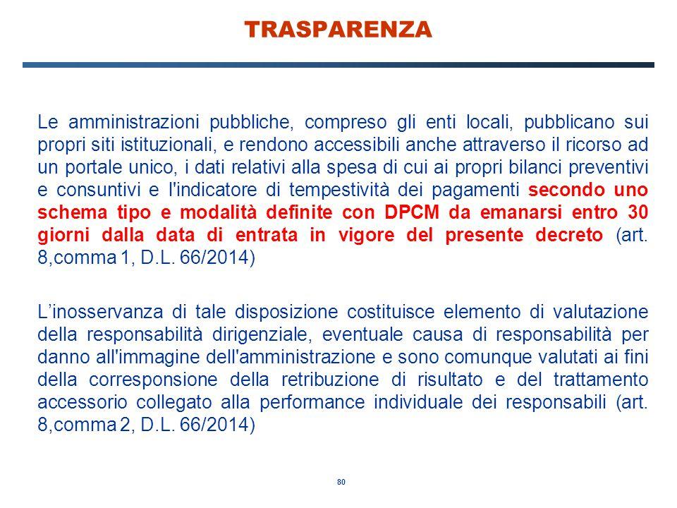 80 TRASPARENZA Le amministrazioni pubbliche, compreso gli enti locali, pubblicano sui propri siti istituzionali, e rendono accessibili anche attravers