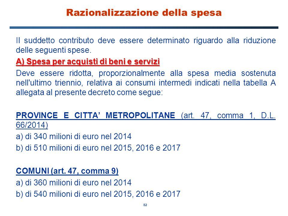82 Razionalizzazione della spesa Il suddetto contributo deve essere determinato riguardo alla riduzione delle seguenti spese. A) Spesa per acquisti di