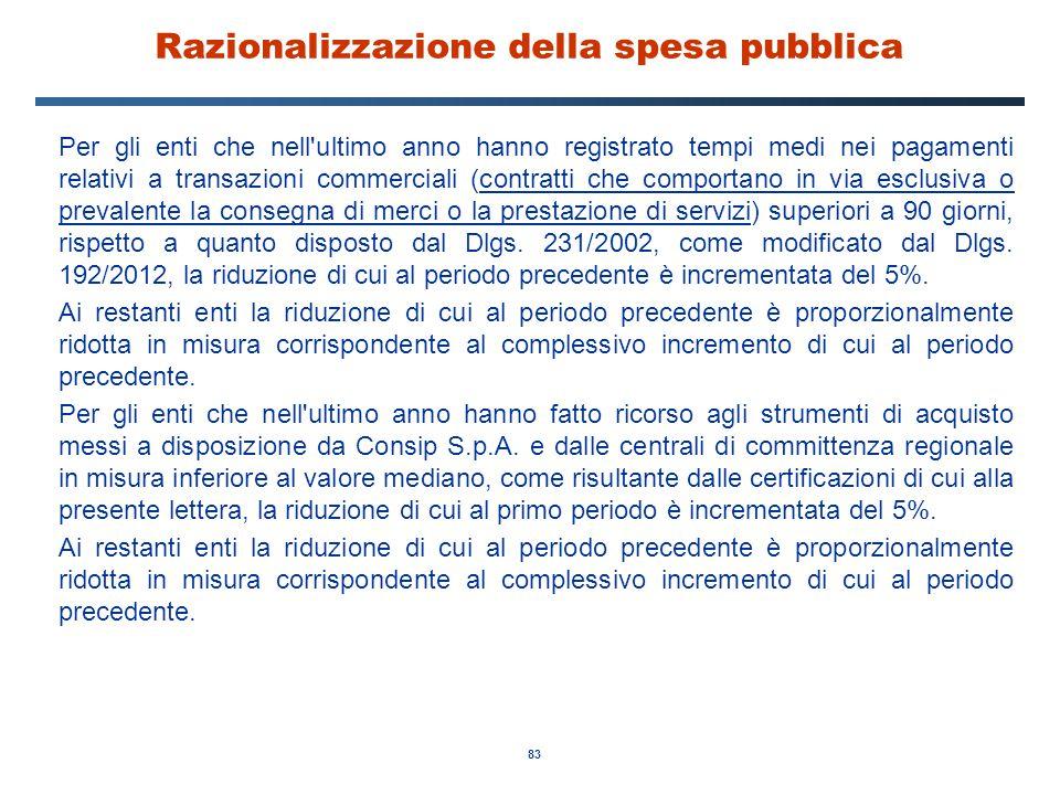 83 Razionalizzazione della spesa pubblica Per gli enti che nell'ultimo anno hanno registrato tempi medi nei pagamenti relativi a transazioni commercia