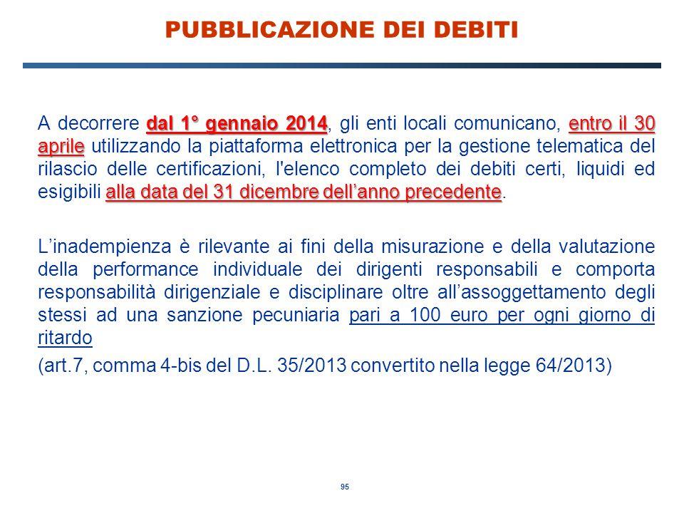 95 PUBBLICAZIONE DEI DEBITI dal 1° gennaio 2014entro il 30 aprile alla data del 31 dicembre dell'anno precedente A decorrere dal 1° gennaio 2014, gli