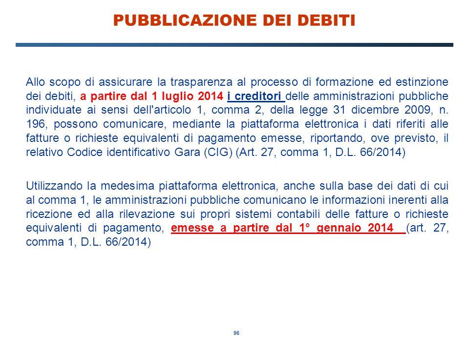 96 PUBBLICAZIONE DEI DEBITI Allo scopo di assicurare la trasparenza al processo di formazione ed estinzione dei debiti, a partire dal 1 luglio 2014 i