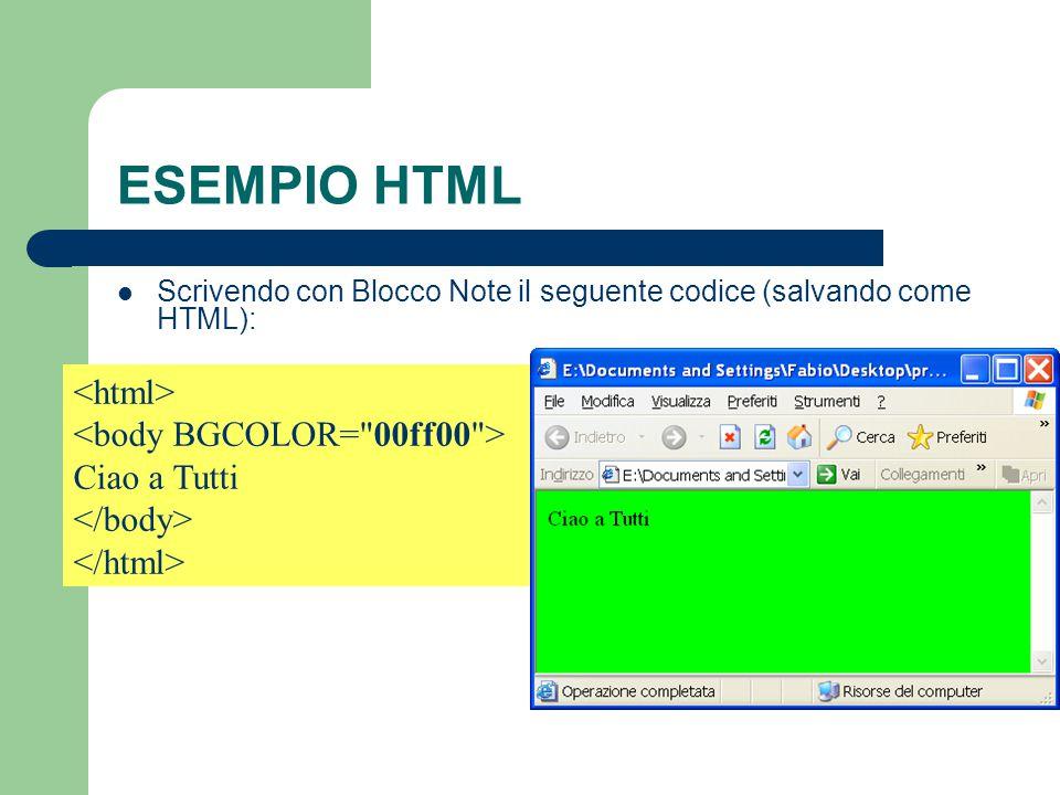 ESEMPIO HTML Scrivendo con Blocco Note il seguente codice (salvando come HTML): Ciao a Tutti