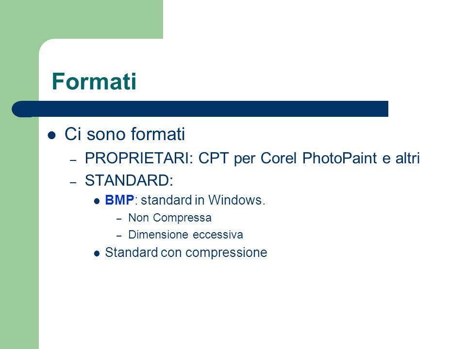 Formati Ci sono formati – PROPRIETARI: CPT per Corel PhotoPaint e altri – STANDARD: BMP: standard in Windows. – Non Compressa – Dimensione eccessiva S
