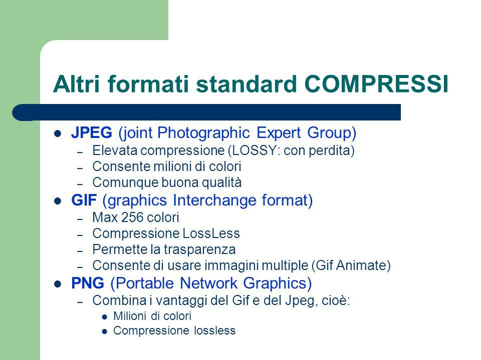 Altri formati standard COMPRESSI JPEG (joint Photographic Expert Group) – Elevata compressione (LOSSY: con perdita) – Consente milioni di colori – Com