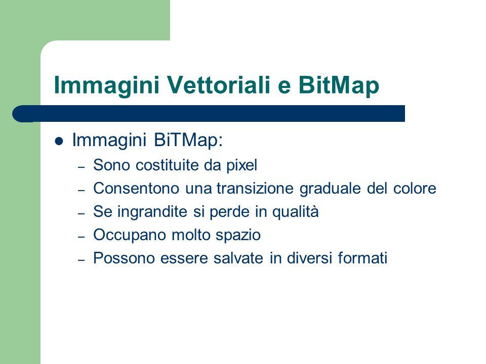 Immagini Vettoriali e BitMap Immagini BiTMap: – Sono costituite da pixel – Consentono una transizione graduale del colore – Se ingrandite si perde in