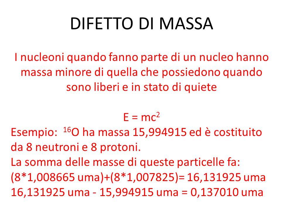 DIFETTO DI MASSA Difetto di massa si calcola: (numero di protoni Z* la massa del nuclide 1H + numero di neutroni N * la massa del neutrone) Se mi riferisco a una mole del nuclide, il difetto di massa è espresso in g/mol quindi ottengo 0,13701 g/mol L'energia liberata è uguale a: E = 0,13701*9,0*10 -16 = 1,23*10 13 J/mol che è una quantità di energia enorme (per esempio la combustione di una mole di metano libera 890 kJ SOLTANTO)