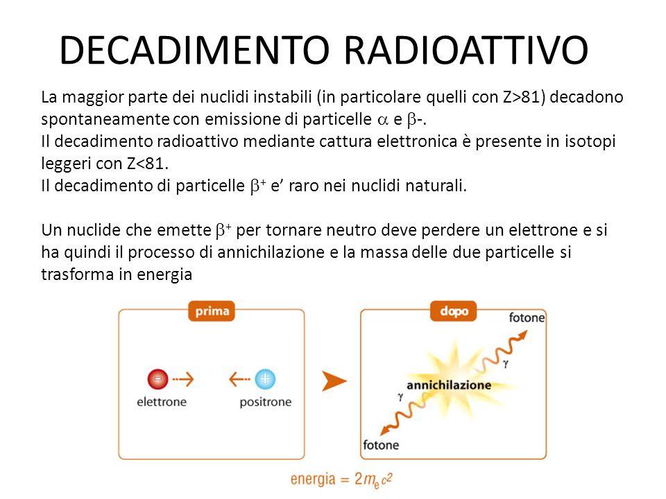 DECADIMENTO RADIOATTIVO La maggior parte dei nuclidi instabili (in particolare quelli con Z>81) decadono spontaneamente con emissione di particelle 