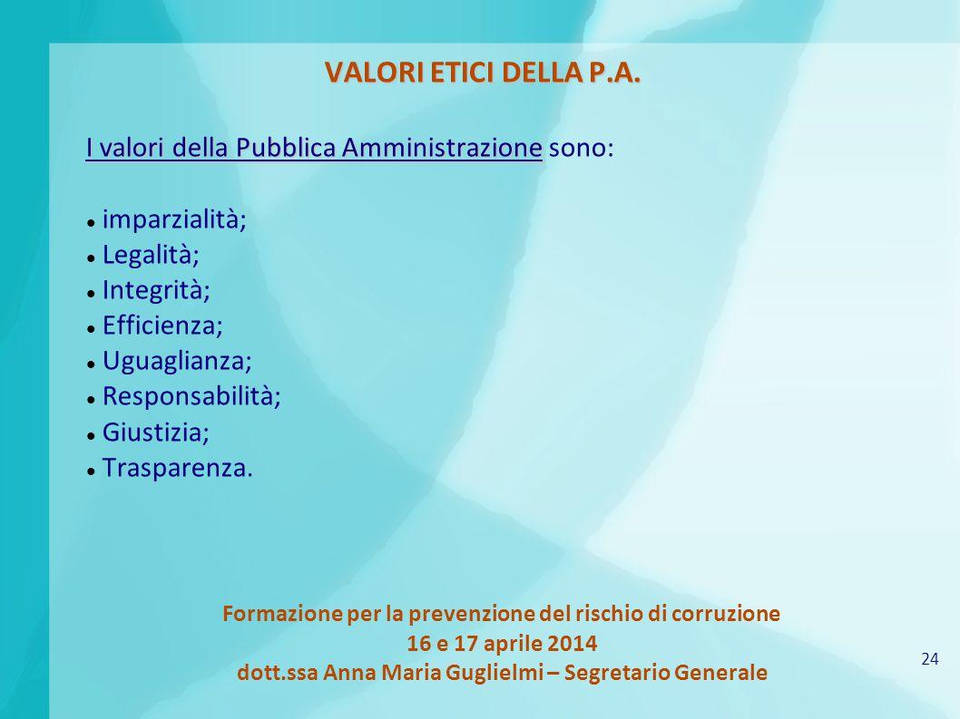 24 Formazione per la prevenzione del rischio di corruzione 16 e 17 aprile 2014 dott.ssa Anna Maria Guglielmi – Segretario Generale VALORI ETICI DELLA P.A.