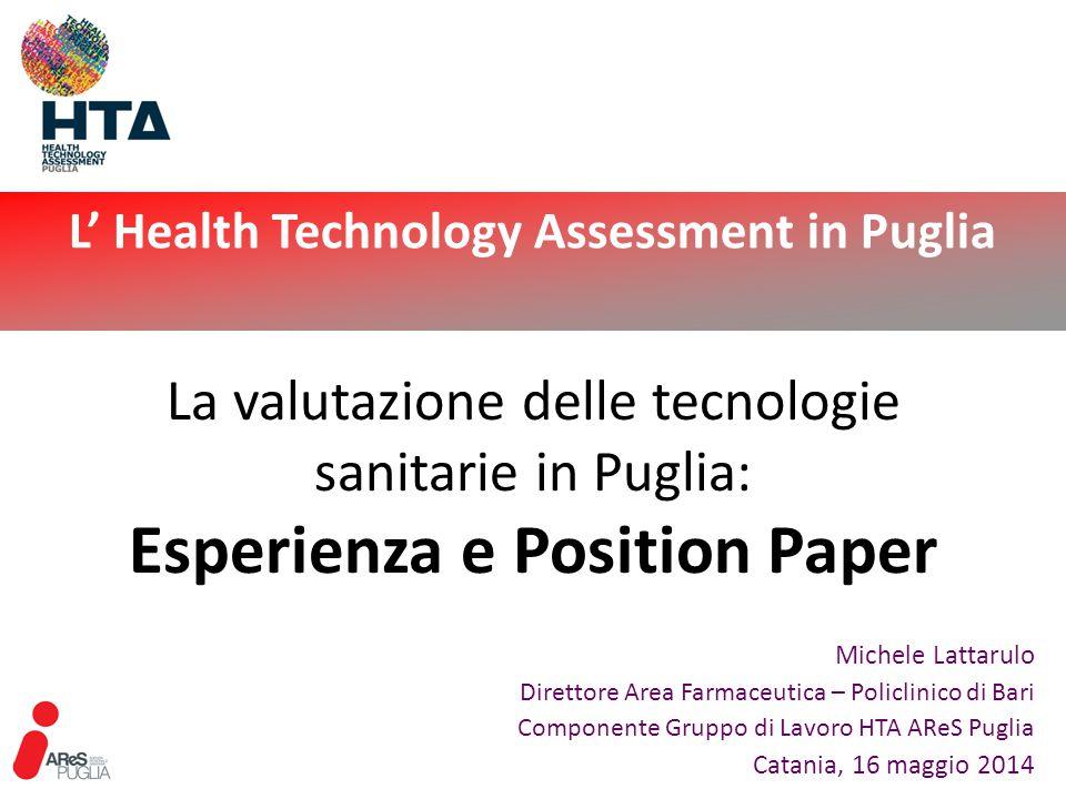 L' Health Technology Assessment in Puglia Catania, 16 maggio 2014 12 … la Regione Puglia ritiene necessario definire la propria posizione in materia di HTA delineando obiettivi, strumenti ed attività da raggiungere/attivare/realizzare nel biennio 2012-2013 Position Paper - Obiettivi