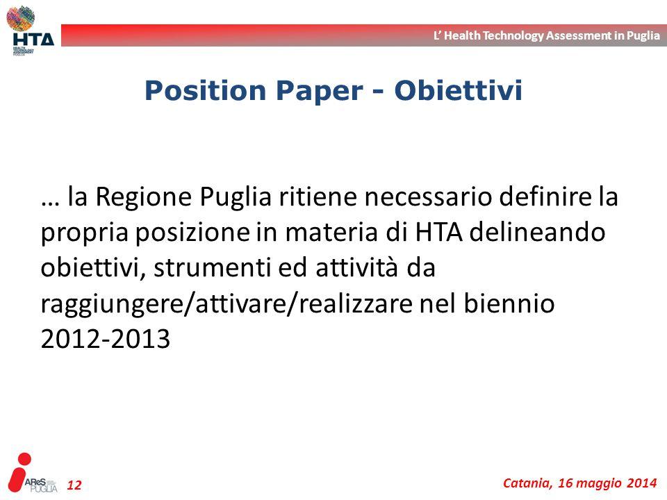 L' Health Technology Assessment in Puglia Catania, 16 maggio 2014 12 … la Regione Puglia ritiene necessario definire la propria posizione in materia d