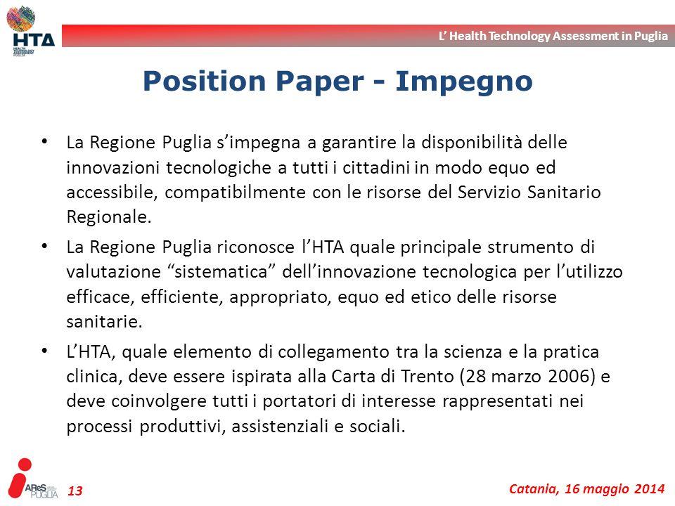 L' Health Technology Assessment in Puglia Catania, 16 maggio 2014 13 La Regione Puglia s'impegna a garantire la disponibilità delle innovazioni tecnol