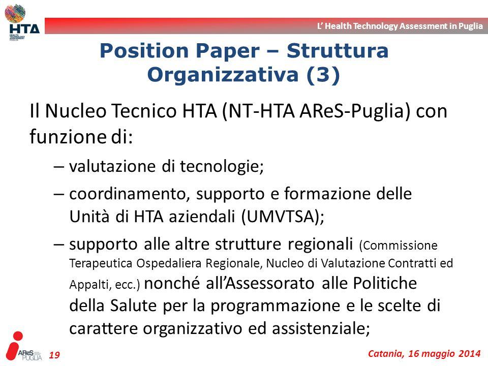 L' Health Technology Assessment in Puglia Catania, 16 maggio 2014 19 Il Nucleo Tecnico HTA (NT-HTA AReS-Puglia) con funzione di: – valutazione di tecn