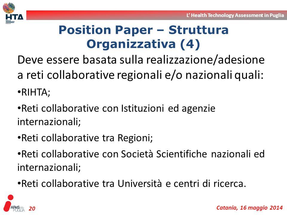 L' Health Technology Assessment in Puglia Catania, 16 maggio 2014 20 Deve essere basata sulla realizzazione/adesione a reti collaborative regionali e/