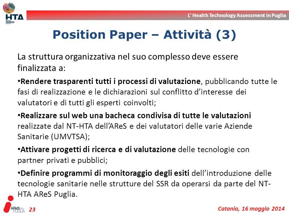 L' Health Technology Assessment in Puglia Catania, 16 maggio 2014 23 La struttura organizzativa nel suo complesso deve essere finalizzata a: Rendere t
