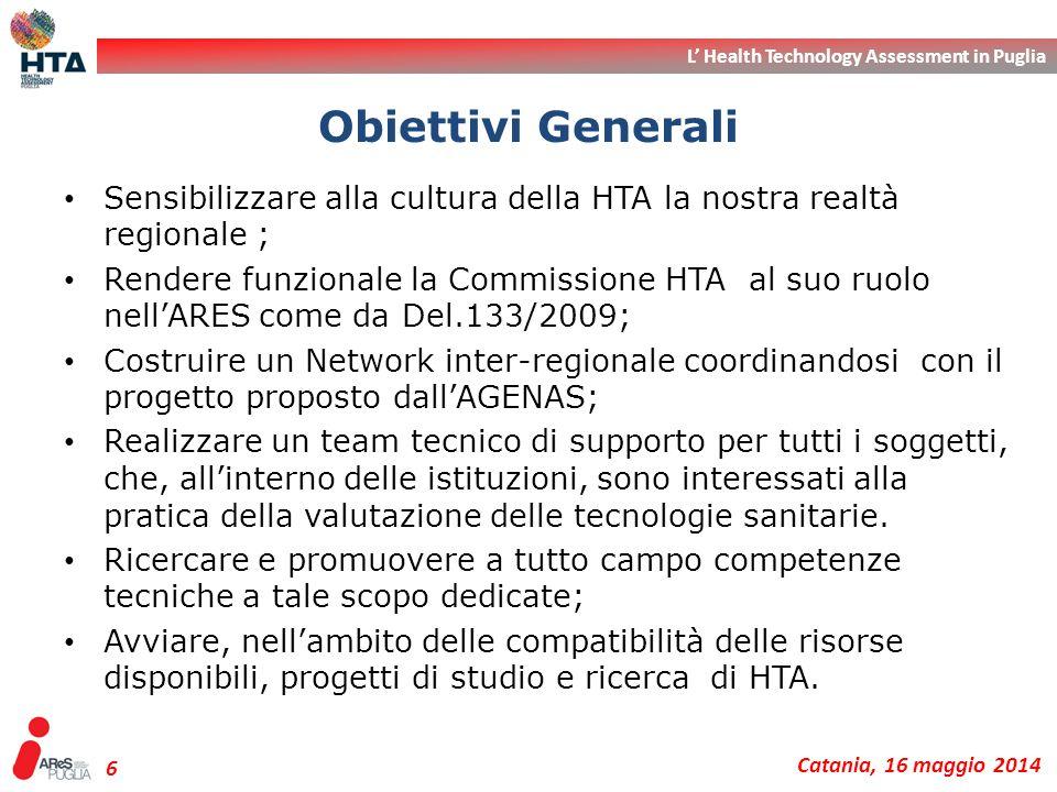 L' Health Technology Assessment in Puglia Catania, 16 maggio 2014 6 Sensibilizzare alla cultura della HTA la nostra realtà regionale ; Rendere funzion