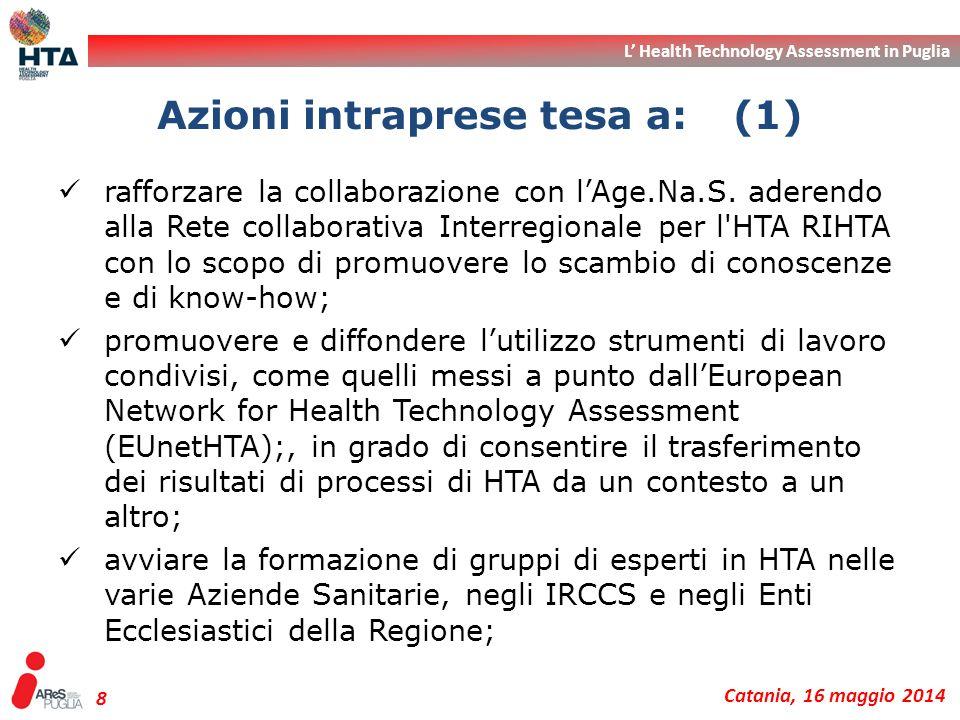 L' Health Technology Assessment in Puglia Catania, 16 maggio 2014 8 rafforzare la collaborazione con l'Age.Na.S. aderendo alla Rete collaborativa Inte