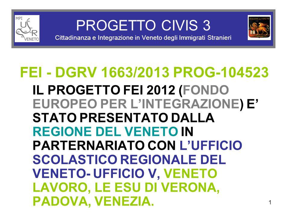 1 PROGETTO CIVIS 3 Cittadinanza e Integrazione in Veneto degli Immigrati Stranieri FEI - DGRV 1663/2013 PROG-104523 IL PROGETTO FEI 2012 (FONDO EUROPEO PER L'INTEGRAZIONE) E' STATO PRESENTATO DALLA REGIONE DEL VENETO IN PARTERNARIATO CON L'UFFICIO SCOLASTICO REGIONALE DEL VENETO- UFFICIO V, VENETO LAVORO, LE ESU DI VERONA, PADOVA, VENEZIA.