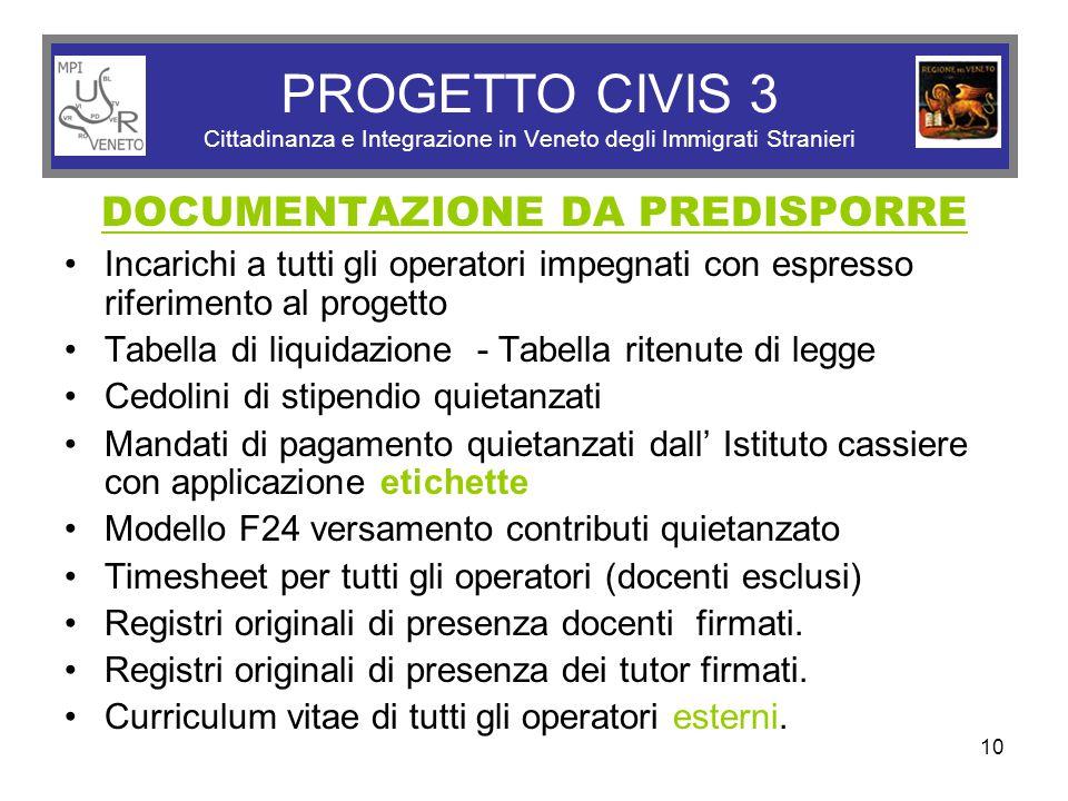 10 PROGETTO CIVIS 3 Cittadinanza e Integrazione in Veneto degli Immigrati Stranieri DOCUMENTAZIONE DA PREDISPORRE Incarichi a tutti gli operatori impe