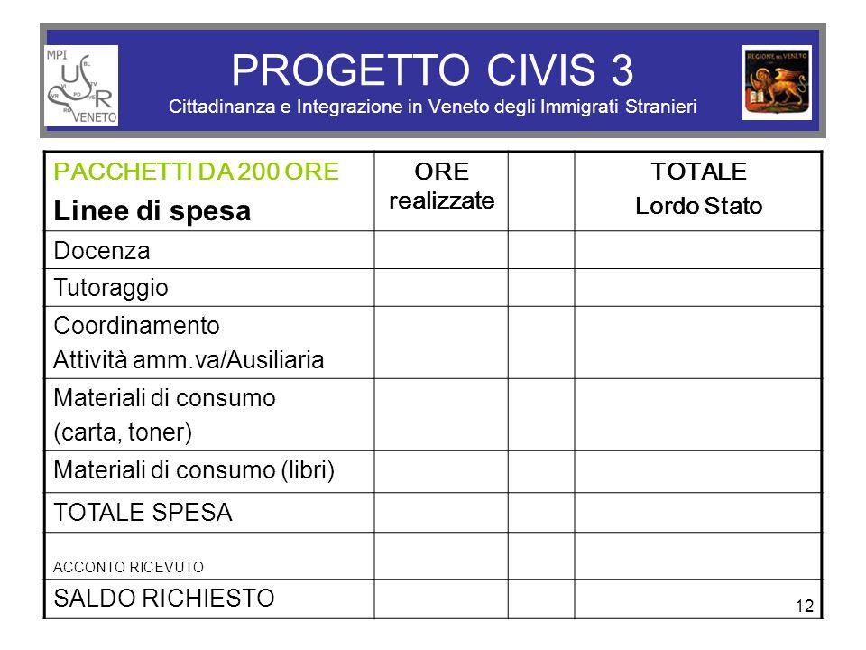 12 PROGETTO CIVIS 3 Cittadinanza e Integrazione in Veneto degli Immigrati Stranieri PACCHETTI DA 200 ORE Linee di spesa ORE realizzate TOTALE Lordo St