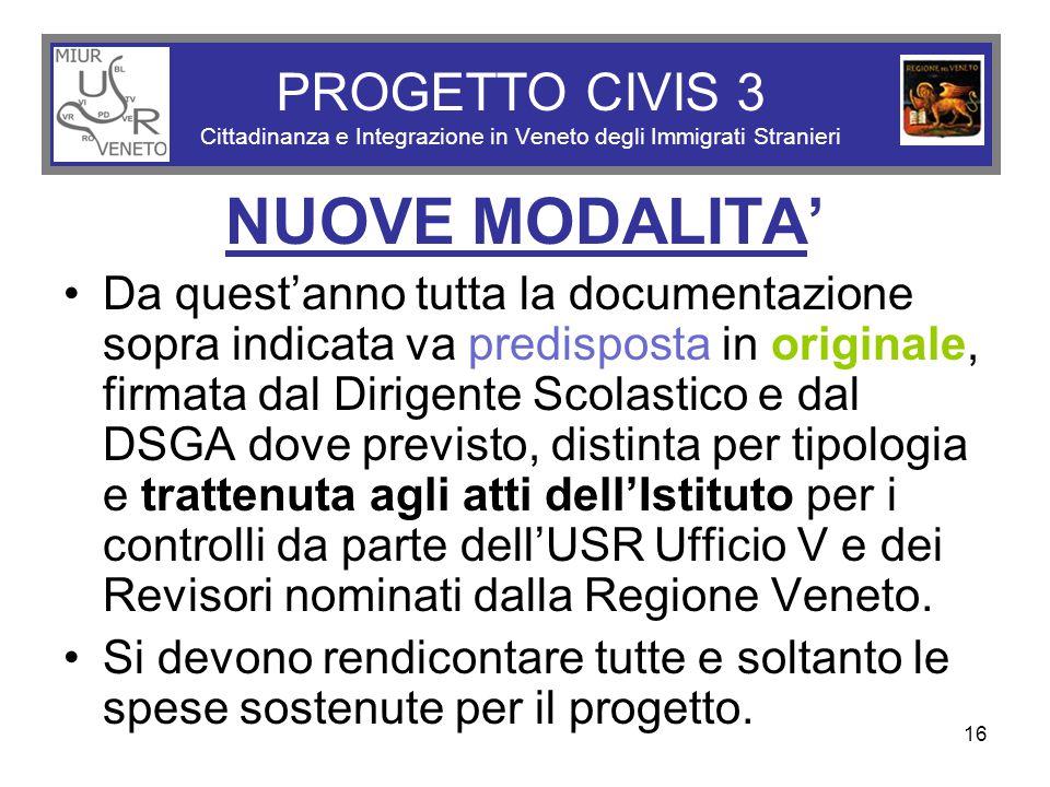 16 PROGETTO CIVIS 3 Cittadinanza e Integrazione in Veneto degli Immigrati Stranieri NUOVE MODALITA' Da quest'anno tutta la documentazione sopra indica