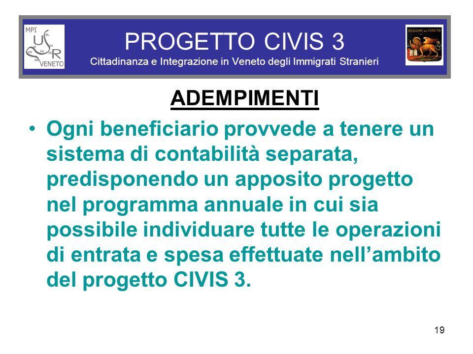 19 PROGETTO CIVIS 3 Cittadinanza e Integrazione in Veneto degli Immigrati Stranieri ADEMPIMENTI Ogni beneficiario provvede a tenere un sistema di cont