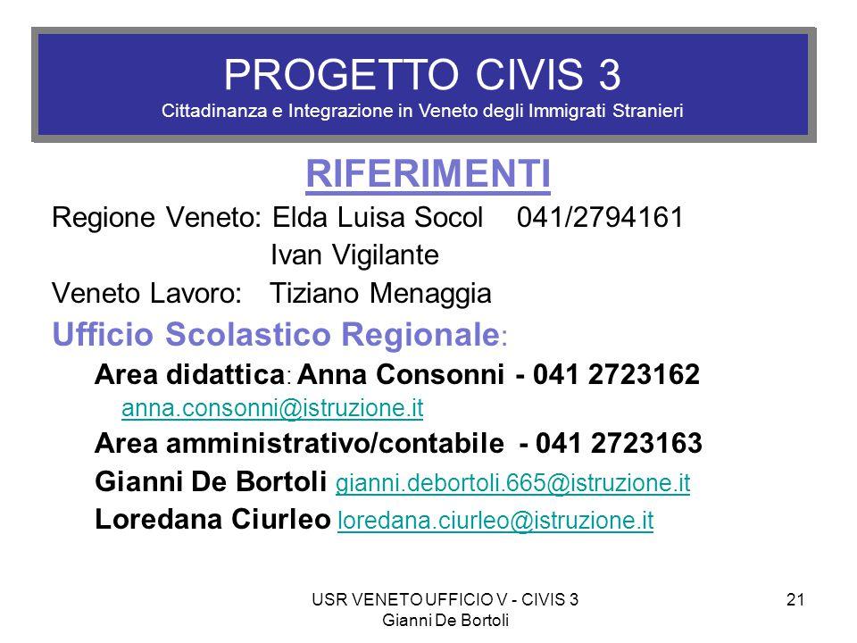 USR VENETO UFFICIO V - CIVIS 3 Gianni De Bortoli 21 PROGETTO CIVIS 3 Cittadinanza e Integrazione in Veneto degli Immigrati Stranieri RIFERIMENTI Regio