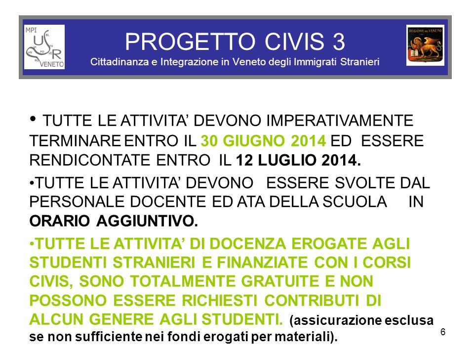 6 PROGETTO CIVIS 3 Cittadinanza e Integrazione in Veneto degli Immigrati Stranieri TUTTE LE ATTIVITA' DEVONO IMPERATIVAMENTE TERMINAREENTRO IL 30 GIUGNO 2014 ED ESSERE RENDICONTATE ENTRO IL 12 LUGLIO 2014.