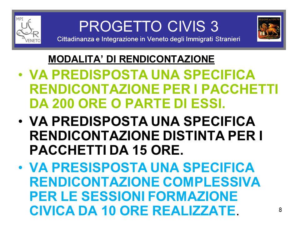 8 PROGETTO CIVIS 3 Cittadinanza e Integrazione in Veneto degli Immigrati Stranieri MODALITA' DI RENDICONTAZIONE VA PREDISPOSTA UNA SPECIFICA RENDICONTAZIONE PER I PACCHETTI DA 200 ORE O PARTE DI ESSI.