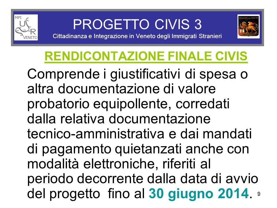9 PROGETTO CIVIS 3 Cittadinanza e Integrazione in Veneto degli Immigrati Stranieri RENDICONTAZIONE FINALE CIVIS Comprende i giustificativi di spesa o