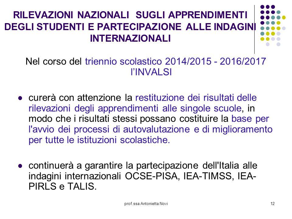 prof.ssa Antonietta Novi12 RILEVAZIONI NAZIONALI SUGLI APPRENDIMENTI DEGLI STUDENTI E PARTECIPAZIONE ALLE INDAGINI INTERNAZIONALI Nel corso del trienn