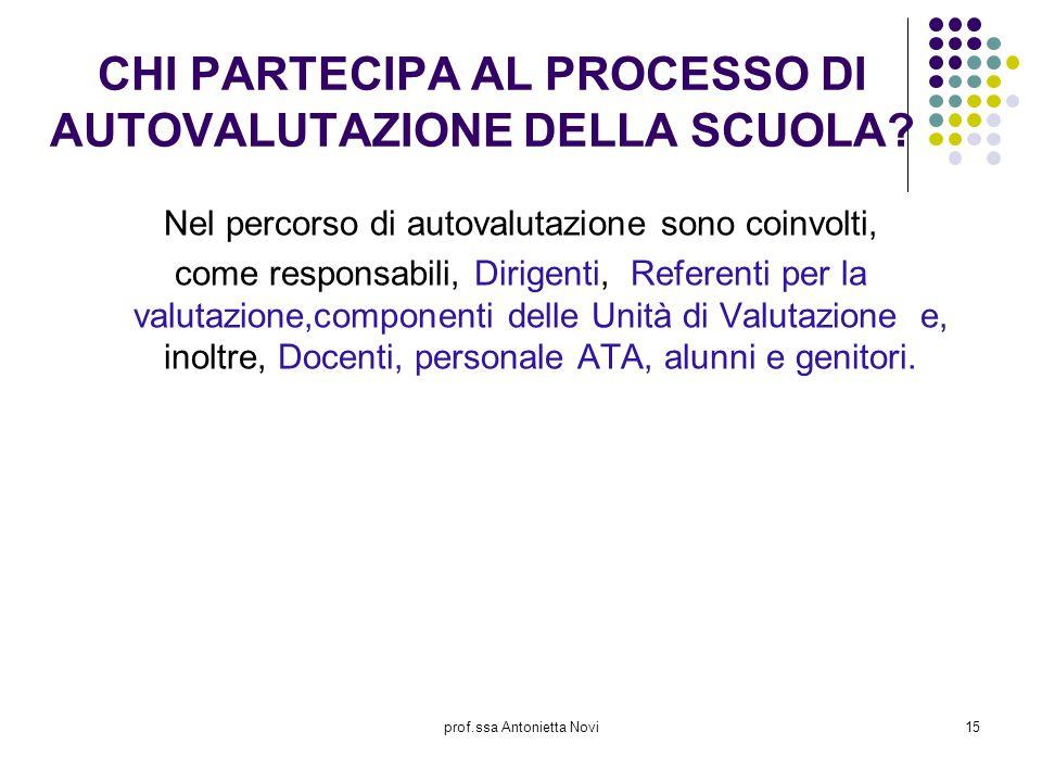 prof.ssa Antonietta Novi15 CHI PARTECIPA AL PROCESSO DI AUTOVALUTAZIONE DELLA SCUOLA? Nel percorso di autovalutazione sono coinvolti, come responsabil