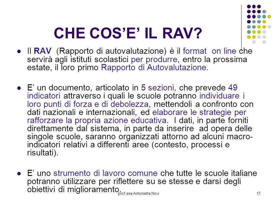 prof.ssa Antonietta Novi17 CHE COS'E' IL RAV? Il RAV (Rapporto di autovalutazione) è il format on line che servirà agli istituti scolastici per produr