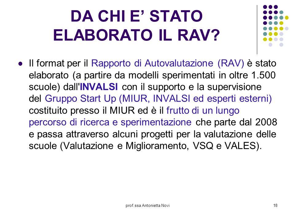 prof.ssa Antonietta Novi18 DA CHI E' STATO ELABORATO IL RAV? Il format per il Rapporto di Autovalutazione (RAV) è stato elaborato (a partire da modell