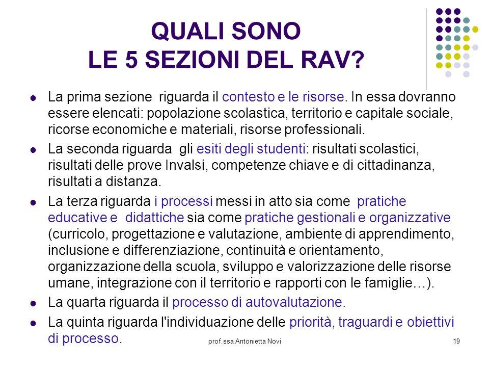 prof.ssa Antonietta Novi19 QUALI SONO LE 5 SEZIONI DEL RAV? La prima sezione riguarda il contesto e le risorse. In essa dovranno essere elencati: popo