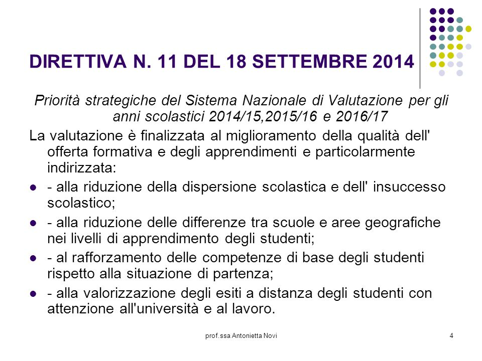 prof.ssa Antonietta Novi4 DIRETTIVA N. 11 DEL 18 SETTEMBRE 2014 Priorità strategiche del Sistema Nazionale di Valutazione per gli anni scolastici 2014