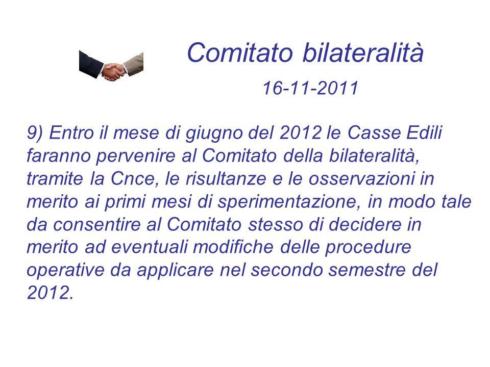 Comitato bilateralità 16-11-2011 9) Entro il mese di giugno del 2012 le Casse Edili faranno pervenire al Comitato della bilateralità, tramite la Cnce,