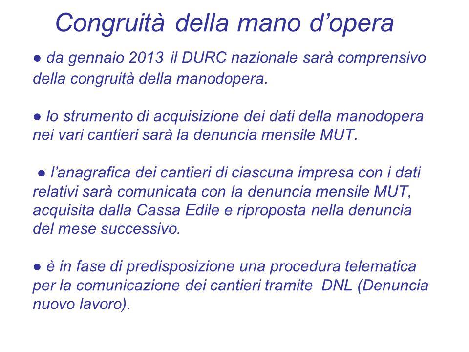Congruità della mano d'opera ● da gennaio 2013 il DURC nazionale sarà comprensivo della congruità della manodopera. ● lo strumento di acquisizione dei
