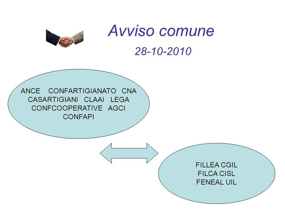 Avviso comune 28-10-2010 ANCE CONFARTIGIANATO CNA CASARTIGIANI CLAAI LEGA CONFCOOPERATIVE AGCI CONFAPI FILLEA CGIL FILCA CISL FENEAL UIL
