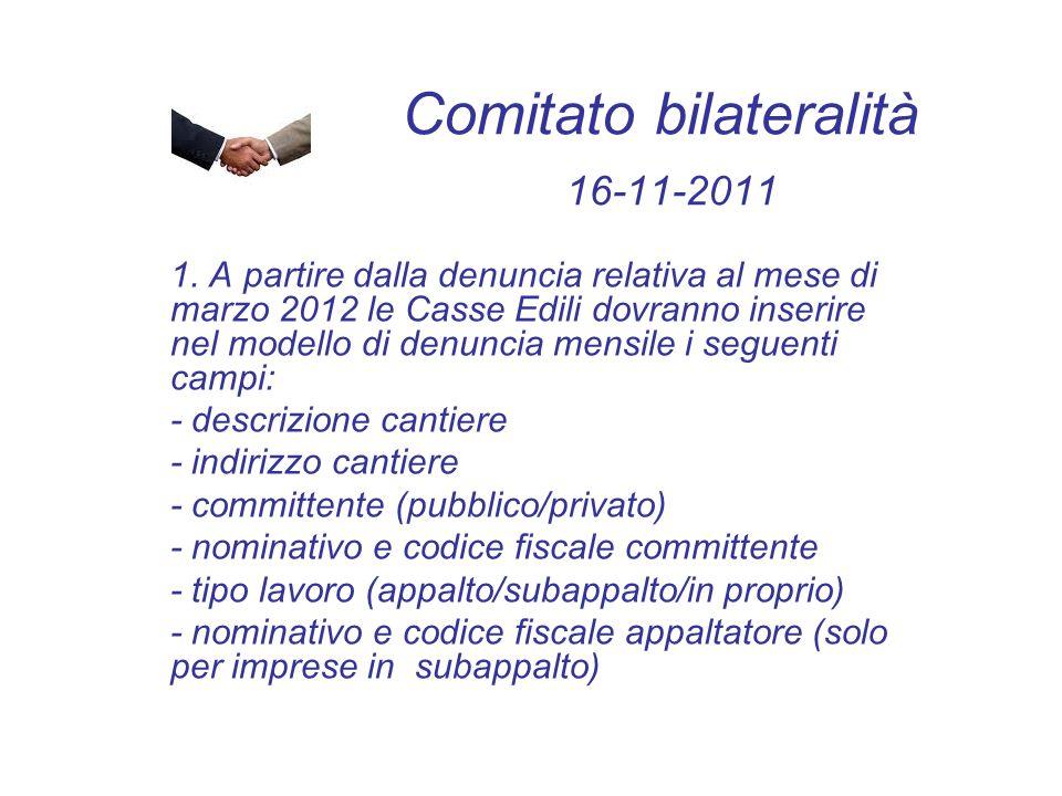 Comitato bilateralità 16-11-2011 1. A partire dalla denuncia relativa al mese di marzo 2012 le Casse Edili dovranno inserire nel modello di denuncia m