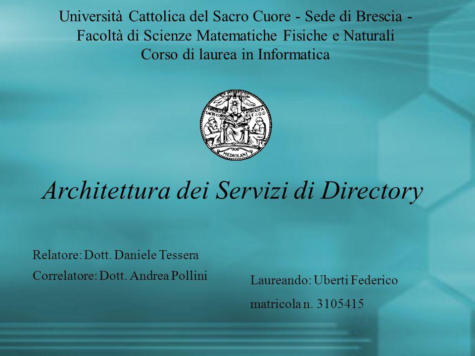Architettura dei Servizi di Directory Università Cattolica del Sacro Cuore - Sede di Brescia - Facoltà di Scienze Matematiche Fisiche e Naturali Corso