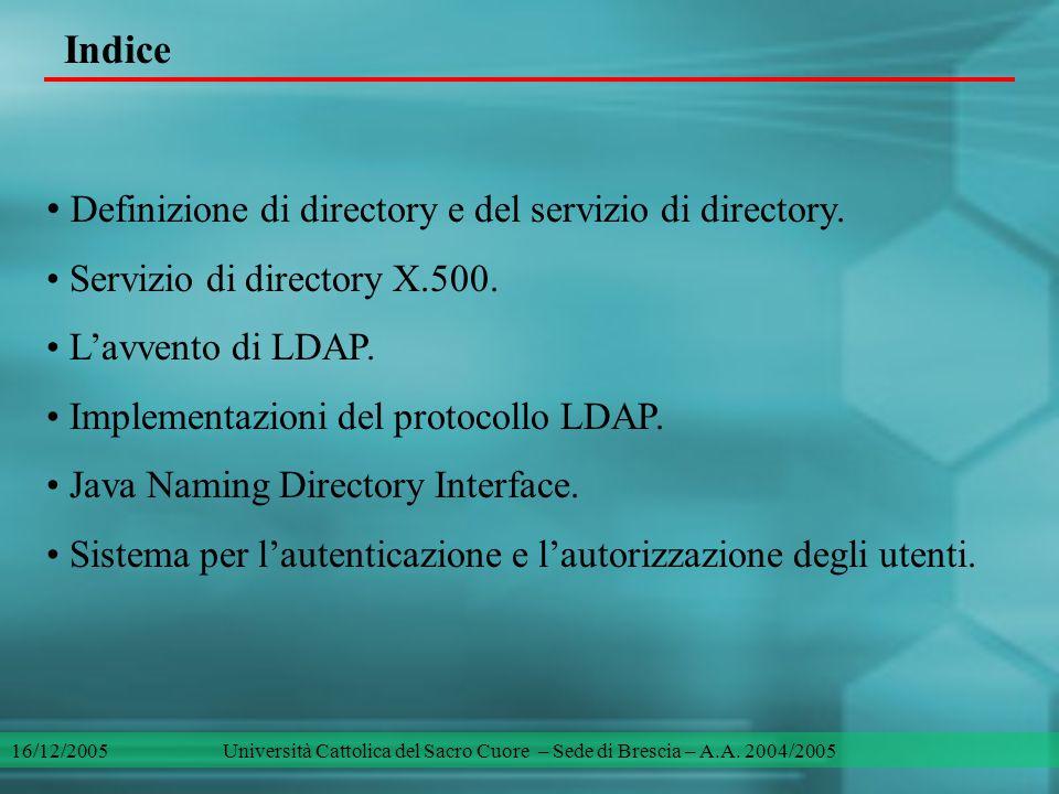 Indice Definizione di directory e del servizio di directory. Servizio di directory X.500. L'avvento di LDAP. Implementazioni del protocollo LDAP. Java