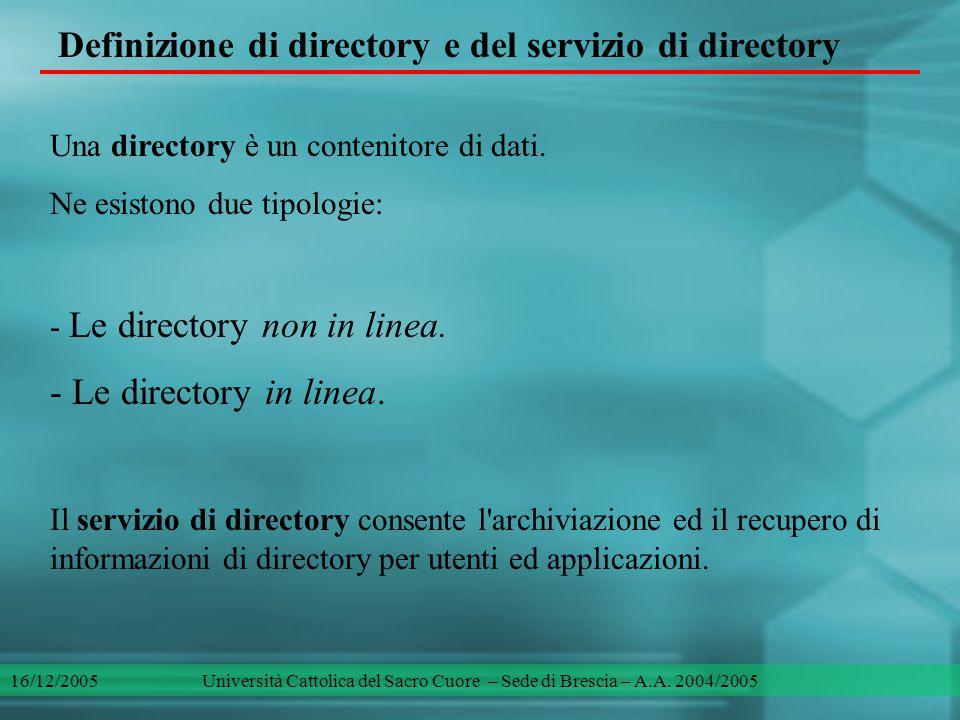 Definizione di directory e del servizio di directory Una directory è un contenitore di dati. Ne esistono due tipologie: - Le directory non in linea. -