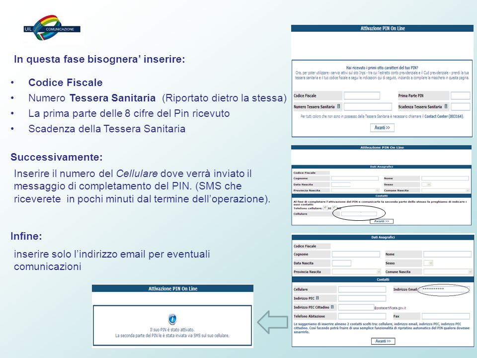 5 Codice Fiscale Numero Tessera Sanitaria (Riportato dietro la stessa) La prima parte delle 8 cifre del Pin ricevuto Scadenza della Tessera Sanitaria