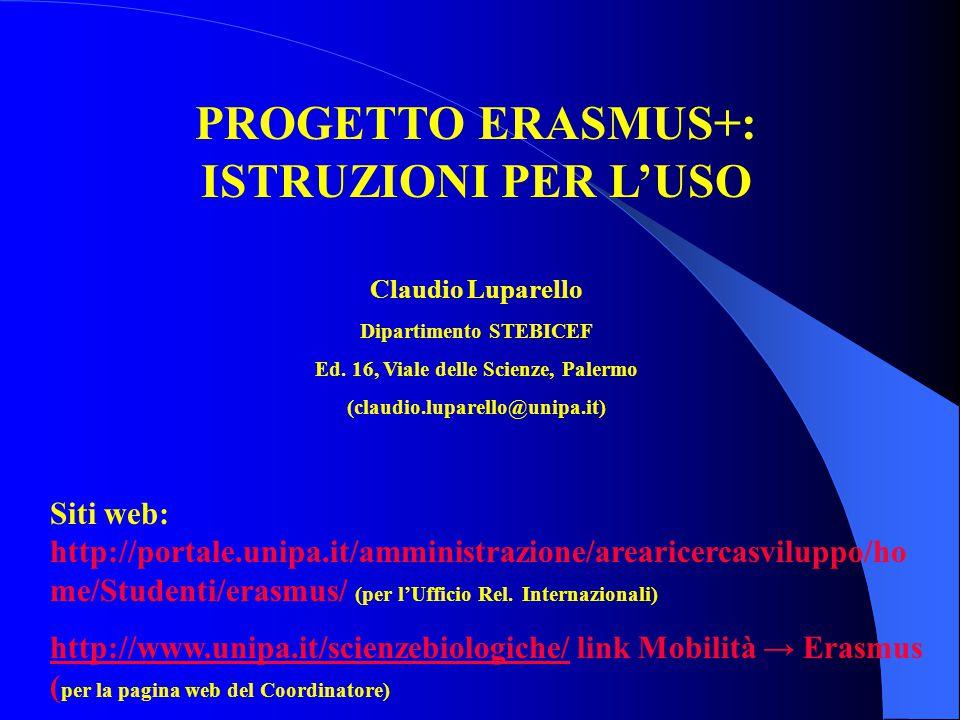 PROGETTO ERASMUS+: ISTRUZIONI PER L'USO Claudio Luparello Dipartimento STEBICEF Ed. 16, Viale delle Scienze, Palermo (claudio.luparello@unipa.it) Siti