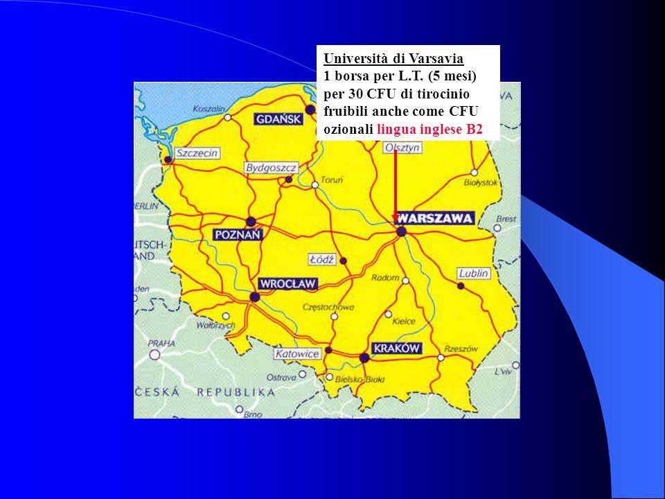 Università di Varsavia 1 borsa per L.T. (5 mesi) per 30 CFU di tirocinio fruibili anche come CFU ozionali lingua inglese B2